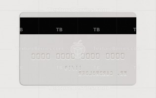 Backside of blank white credit card with embossing, isolated