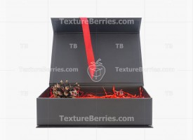 Black box with red filler and ribbon isolated on white background