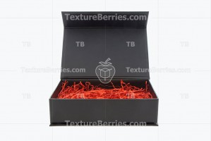 Black box with red filler isolated on white background