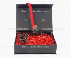 Black box with red filler, ribbon and cone isolated on white