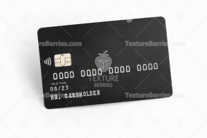 Black credit card on white background with shadow
