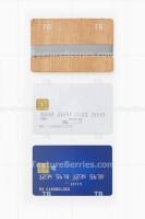 Blank blue and white credit cards and stylish card holder