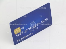 Blue credit card isolated on white background