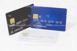 Blue, white and black credit cards, banking and shopping