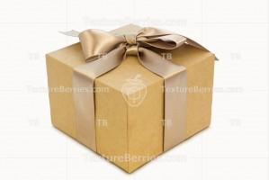 Cardboard gift box with golden ribbon, clipping path