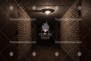 Dark long corridor in a basement with metal doors