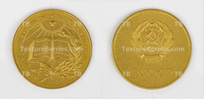 Gold school medal of USSR isolated on white