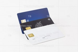 Group of white, black and blue credit cards
