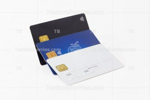 Group of white, blue and black credit cards