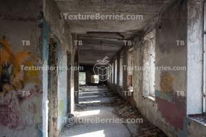 Inside abandoned building, big hall