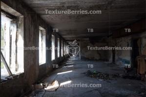 Inside abandoned building, big space