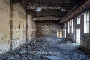 Inside abandoned factory, big space