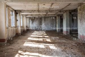 Inside destroyed building, after war concept