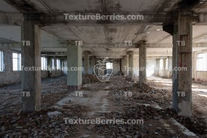 Inside destroyed building, ruins of factory