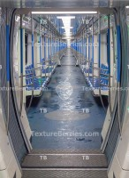 Inside the modern subway train, Moscow metro