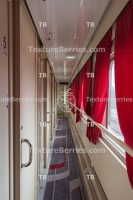 Long corridor and many doors, train interior, business class