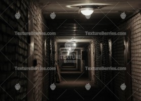 Long corridor in a basement