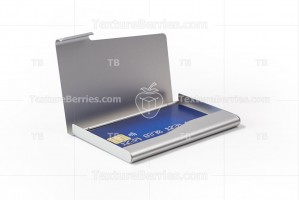 Metal business card holder with blue credit card