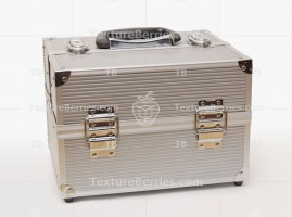 Modern metal suitcase isolated on white background