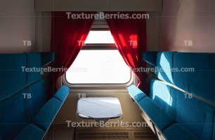 Railroad train interior with clipping path for window, blue seats