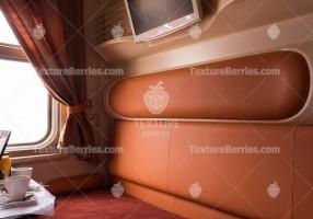 Railroad modern speed train interior, business class