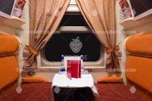 Railroad train luxury interior at night, black window