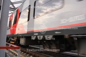 Rapid train passing bridge, motion blur