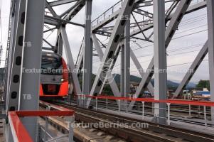 Rapid train passing bridge