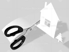 Scissors cut paper house. 3D rendering