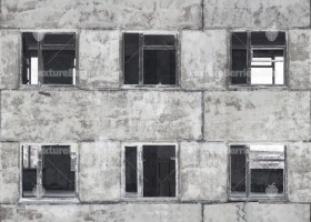 Seamless texture of front facade of abandoned building