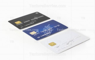 Three blank credit cards in a row on white background