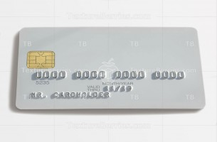White blank bank card, isolated