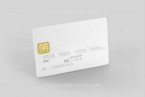 White credit card on gray background, template for branding, clipping path