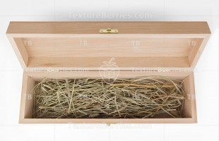 Wooden packing box with natural straw